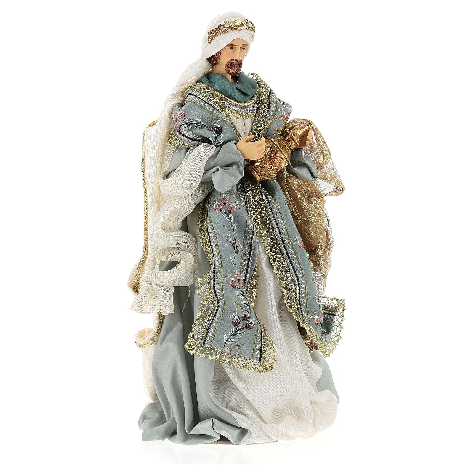 Natività 6 pezzi Blu Gold resina stoffa 40 cm stile veneziano 4