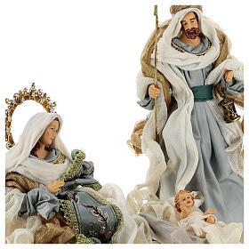 Natività 6 pezzi Blu Gold resina stoffa 40 cm stile veneziano s3