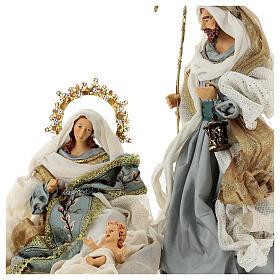 Natività 6 pezzi Blu Gold resina stoffa 40 cm stile veneziano s5