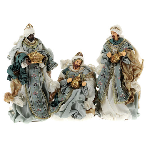 Natività 6 pezzi Blu Gold resina stoffa 40 cm stile veneziano 8