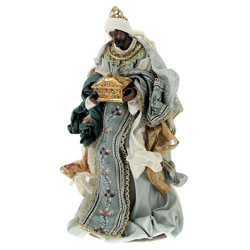 Natività 6 pezzi Blu Gold resina stoffa 40 cm stile veneziano 9