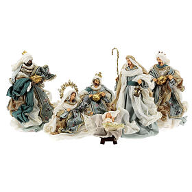 Natività 6 pezzi Blu Gold resina stoffa stile veneziano 30 cm s1