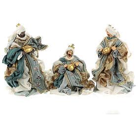 Natività 6 pezzi Blu Gold resina stoffa stile veneziano 30 cm s6