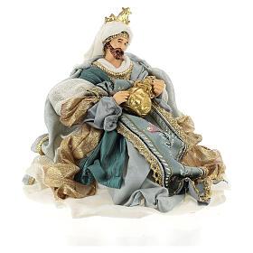Natività 6 pezzi Blu Gold resina stoffa stile veneziano 30 cm s8