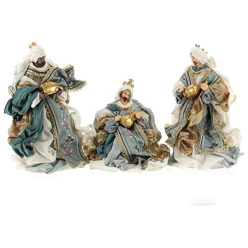 Natività 6 pezzi Blu Gold resina stoffa stile veneziano 30 cm 6