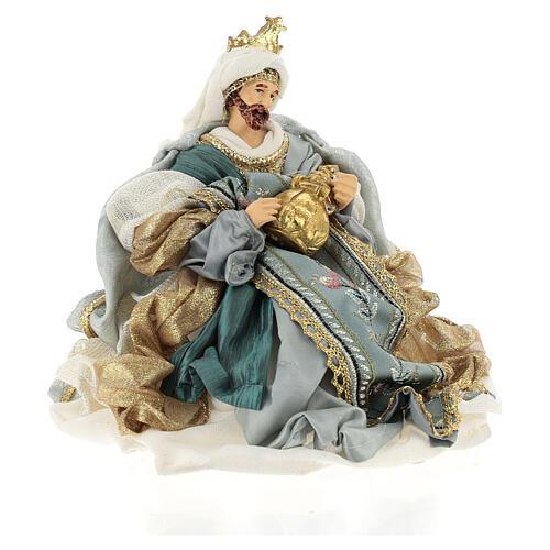 Natività 6 pezzi Blu Gold resina stoffa stile veneziano 30 cm 8