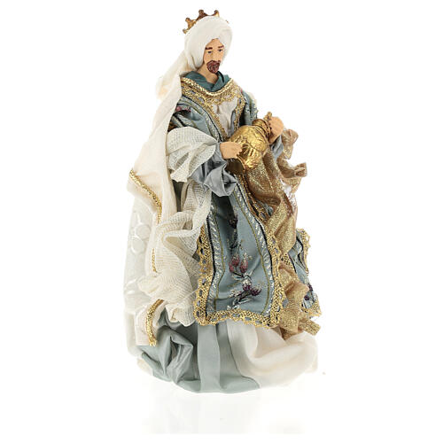 Natività 6 pezzi Blu Gold resina stoffa stile veneziano 30 cm 9
