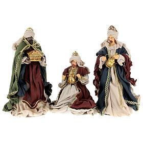 Natività 6 pezzi colori tradizionali resina stoffa shabby chic 40 cm  s8