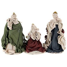 Natività 6 pezzi colori tradizionali resina stoffa shabby chic 40 cm  s13