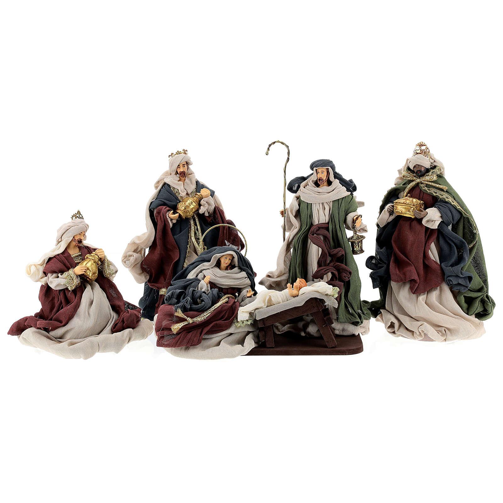 Natività 6 pezzi colori tradizionali resina stoffa 30 cm shabby chic 4