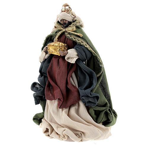 Natività 6 pezzi colori tradizionali resina stoffa 30 cm shabby chic 9