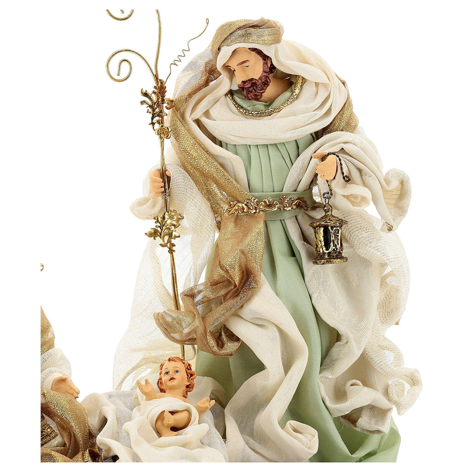 Sacra famiglia resina stoffa stile veneziano 40 cm  3