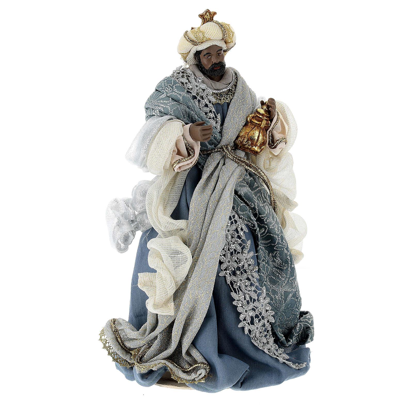 Natività 6 pezzi blu argento resina stoffa 40 cm stile veneziano 4