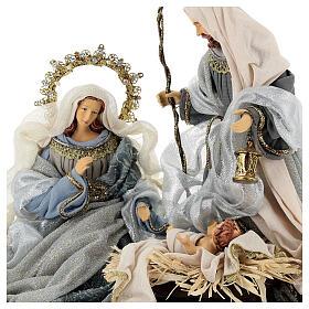 Natività 6 pezzi blu argento resina stoffa 40 cm stile veneziano s7