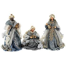 Natività 6 pezzi blu argento resina stoffa 40 cm stile veneziano s8