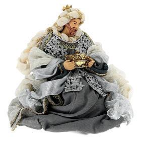 Natività 6 pezzi blu argento resina stoffa 40 cm stile veneziano s10