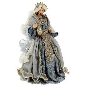 Natività 6 pezzi blu argento resina stoffa 40 cm stile veneziano s11