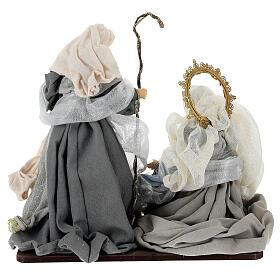 Natività 6 pezzi blu argento resina stoffa 40 cm stile veneziano s12