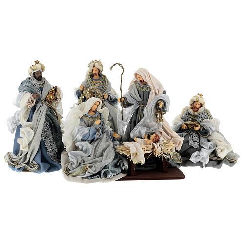 Natività 6 pezzi blu argento resina stoffa 40 cm stile veneziano 1