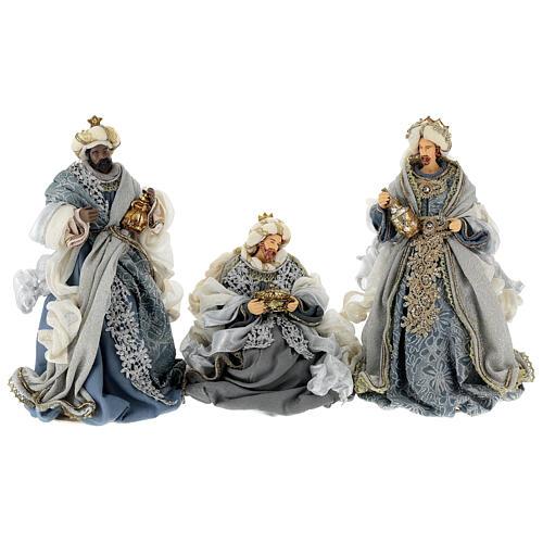 Natività 6 pezzi blu argento resina stoffa 40 cm stile veneziano 8