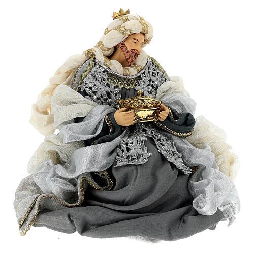 Natività 6 pezzi blu argento resina stoffa 40 cm stile veneziano 10