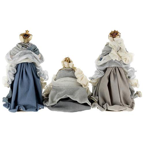 Natività 6 pezzi blu argento resina stoffa 40 cm stile veneziano 13