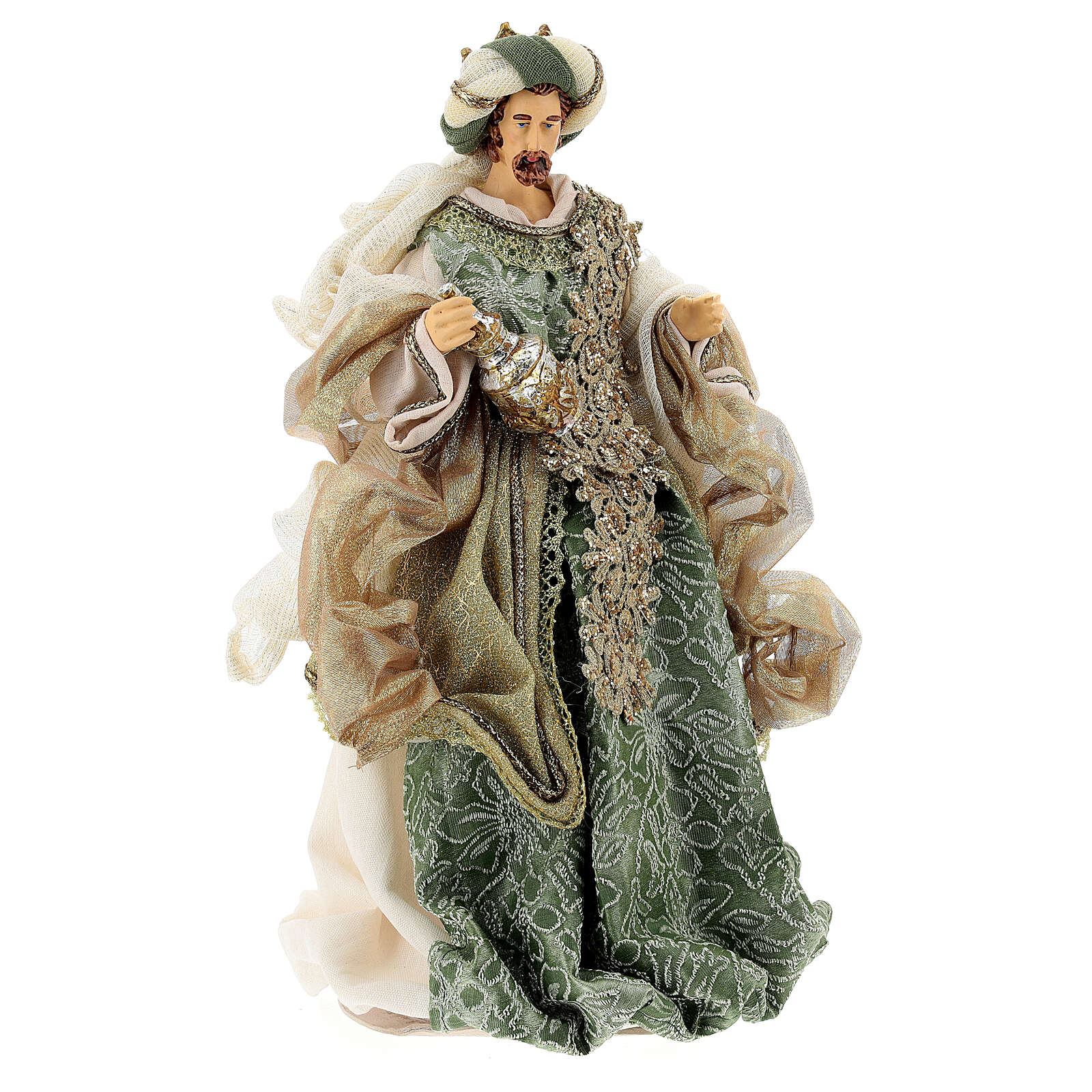 Natività 6 pezzi stile veneziano resina e stoffa verde oro 40 cm  4