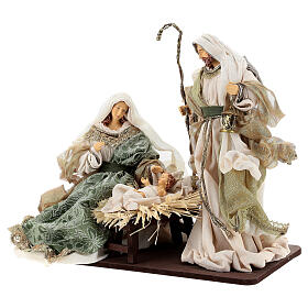 Natività 6 pezzi stile veneziano resina e stoffa verde oro 40 cm  s4