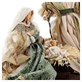 Natività 6 pezzi stile veneziano resina e stoffa verde oro 40 cm  s5
