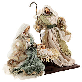 Natività 6 pezzi stile veneziano resina e stoffa verde oro 40 cm  s6