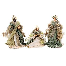 Natività 6 pezzi stile veneziano resina e stoffa verde oro 40 cm  s7