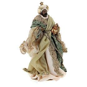Natività 6 pezzi stile veneziano resina e stoffa verde oro 40 cm  s8