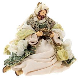 Natività 6 pezzi stile veneziano resina e stoffa verde oro 40 cm  s10