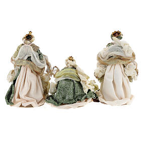Natività 6 pezzi stile veneziano resina e stoffa verde oro 40 cm  s12
