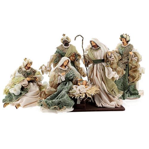 Natività 6 pezzi stile veneziano resina e stoffa verde oro 40 cm  1