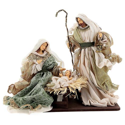 Natività 6 pezzi stile veneziano resina e stoffa verde oro 40 cm  2