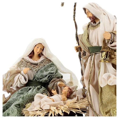 Natività 6 pezzi stile veneziano resina e stoffa verde oro 40 cm  3