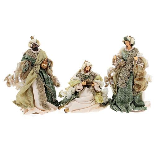 Natività 6 pezzi stile veneziano resina e stoffa verde oro 40 cm  7