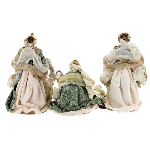 Natività 6 pezzi stile veneziano resina e stoffa verde oro 40 cm  12