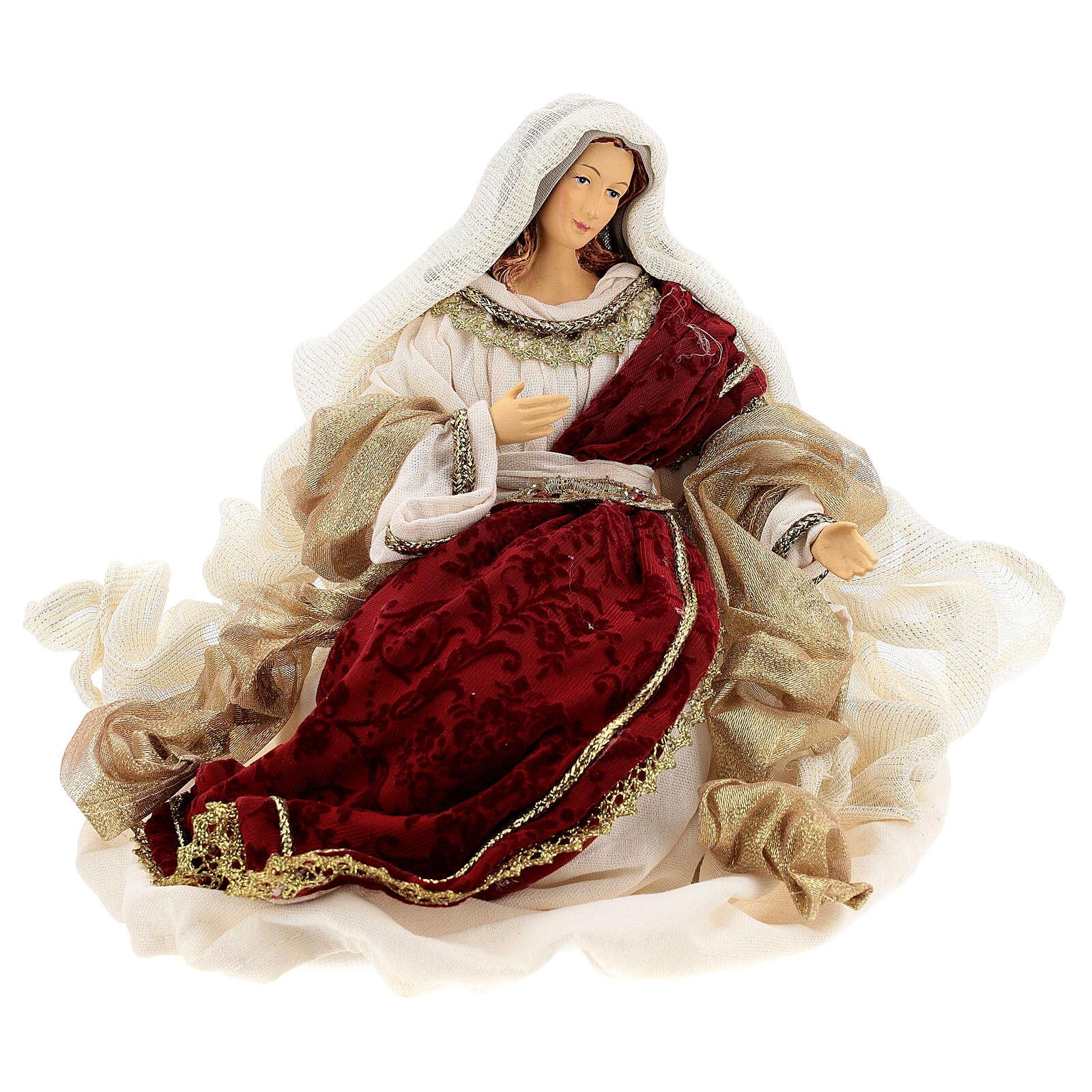 Natività 6 pezzi stile veneziano resina e stoffa rosso oro 40 cm  4