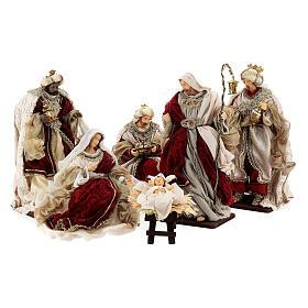 Natività 6 pezzi stile veneziano resina e stoffa rosso oro 40 cm  s1
