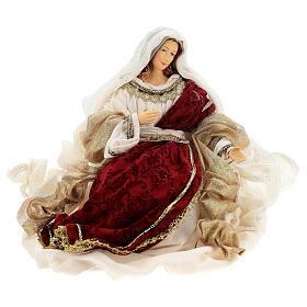 Natività 6 pezzi stile veneziano resina e stoffa rosso oro 40 cm  s4