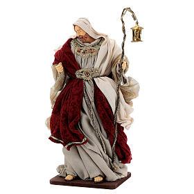Natività 6 pezzi stile veneziano resina e stoffa rosso oro 40 cm  s6