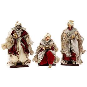 Natività 6 pezzi stile veneziano resina e stoffa rosso oro 40 cm  s7