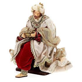 Natività 6 pezzi stile veneziano resina e stoffa rosso oro 40 cm  s9