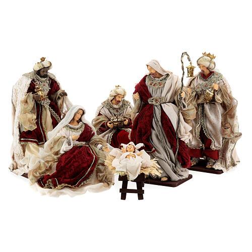 Natività 6 pezzi stile veneziano resina e stoffa rosso oro 40 cm  1