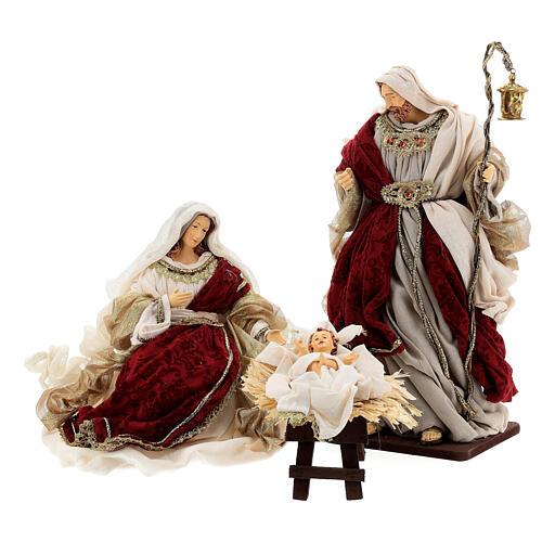 Natività 6 pezzi stile veneziano resina e stoffa rosso oro 40 cm  2