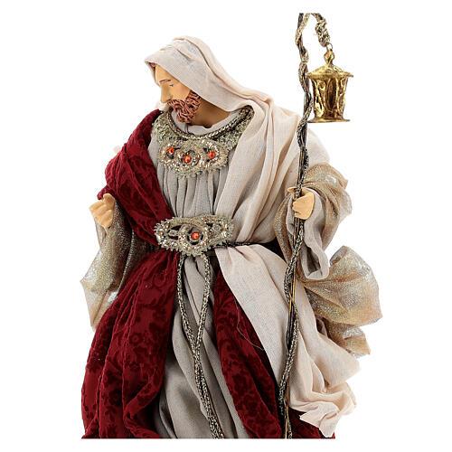 Natività 6 pezzi stile veneziano resina e stoffa rosso oro 40 cm  5