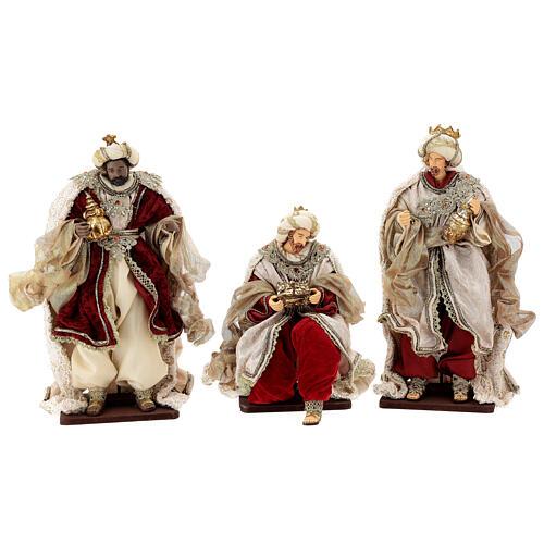 Natività 6 pezzi stile veneziano resina e stoffa rosso oro 40 cm  7