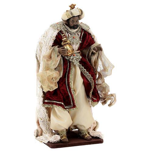 Natività 6 pezzi stile veneziano resina e stoffa rosso oro 40 cm  8